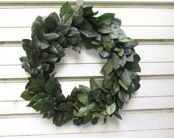 """Preserved Salal (Lemon Leaf) 20"""" Wreath Dark Basil Green Handcrafted for Home Decor, Weddings, Crafts, DIY, Woodland Floral"""