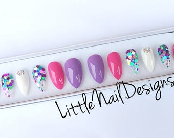 Hand Painted Pretty False Nails Prom | Birthday | Party | Swarovski | Little Nail Designs