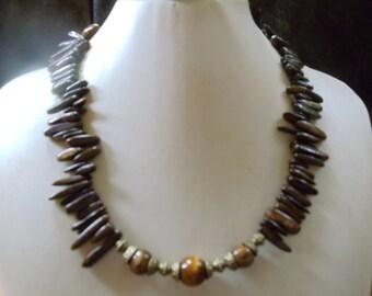 Angnes Bronzite sticks with Tiger eye statement jewelry