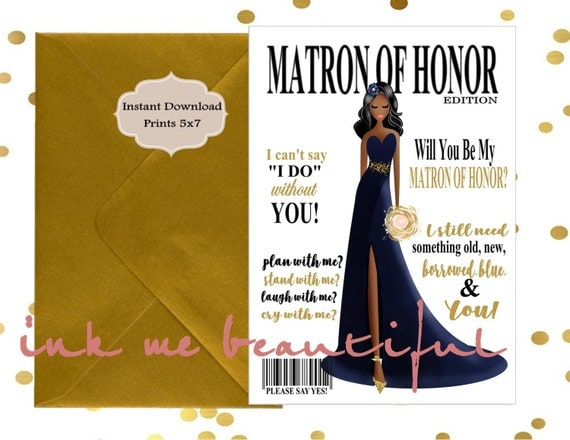 Honor Or Honour On Wedding Invitations: PRINTABLE Will You Be My Matron Of Honor, Bridal MAGAZINE