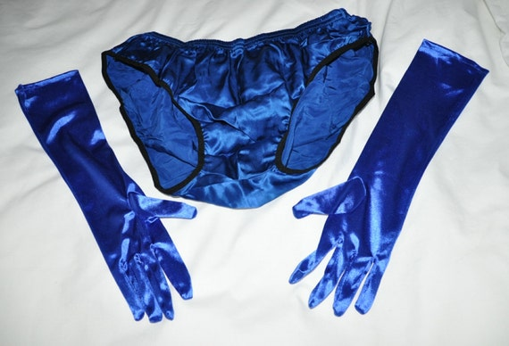 SALE  --  Pure SILK panties with satin gloves set all in royal blue, silky sexy cd wear, so much x-dressing fun, Sissy Lingerie