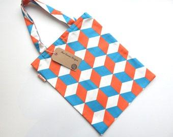 Geometric tote bag, Market bag, Shopping bag, Shopper, Canvas bag,