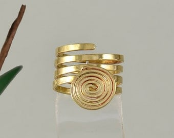 Ring with spiral design, wrap around ring,brass coil band, romantic jewelry, plain long ring, index finger ring, middle finger ring.