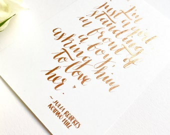 Notting Hill postcard, copper, love, Valentines, movie, quote