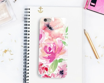 iPhone case, Floral phone case, iPhone 7 case, iPhone 6 cover, Galaxy 7 phone case, pantone greenery, modern case, watercolor phone case