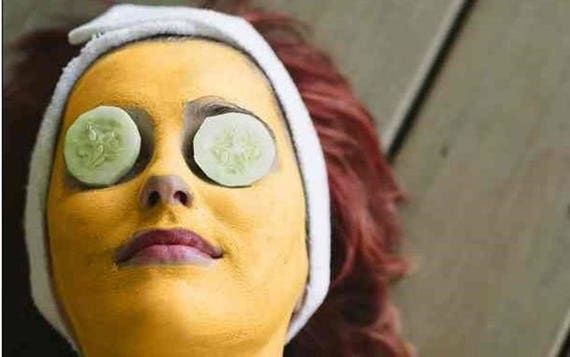 Turmeric face mask - Healing acne face mask with protein - turmeric - ginger and yellow clay