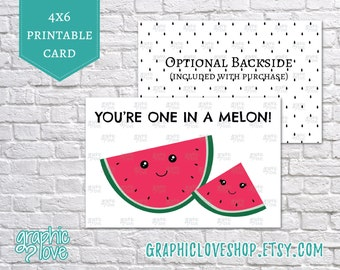 Printable You're One in a Melon 4x6 Birthday Card | Digital JPG File, Instant Download