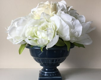 Faux Silk Flower Arrangement in Authentic Wedgwood Vase--White Peony, Hydrangea, Ranunculus and Rose