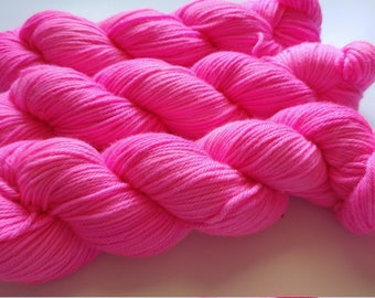 Hand dyed yarn, 100 g DK weight, superwash merino/nylon blend, hot pink solid, ready to ship, Resist