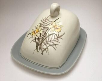 Vintage Crown Devon Karen Butter Cheese Dish Daffodils Spring Flowers Easter Mid Century Modern