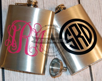 Personalized Monogram Flask and Funnel - FLASH SALE - 8 oz Stainless Steel Hip Flask - 21st Birthday Gift - party
