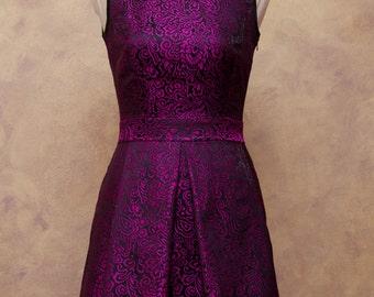 Girl dress bridesmaid dress Fuchsia, black jacquard dress woman, elegant style years 40 to 50, Italian tailoring, dress size italy