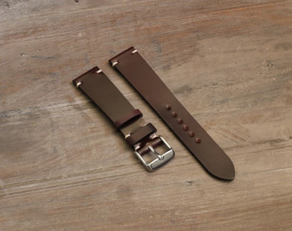 Horween Shell Cordovan watch band - simple side stitch - all sizes