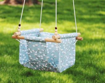 baby swing, Indoor swing, Toddler swing, outdoor swing, hammock swing, fabric swing, blue swing, gift, baby shower gift
