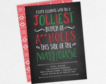 Funny Christmas Party Invitations, Adult Christmas Party Invitations, Inappropriate Christmas Party Invites, Christmas Vacation Invitations
