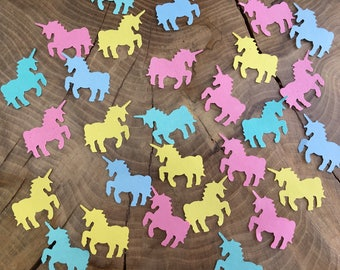 150 Pastel coloured Unicorn Confetti Pieces, yellow, pink, blue and teal