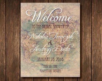Bridal Shower Travel Theme Welcome Poster - Custom Digital Copy