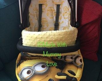 Minion fabric handmade Custom Handmade universal pram stroller buggy footmuff/liner