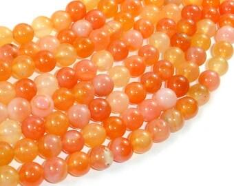 Carnelian Beads, Orange,  8mm (8.2mm) Round Beads, 15 Inch, Full strand, Approx 48 beads, Hole 1mm (182054026)