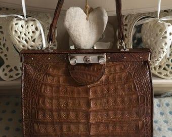 1930s/1940s deco alligator crocodile brown leather bag