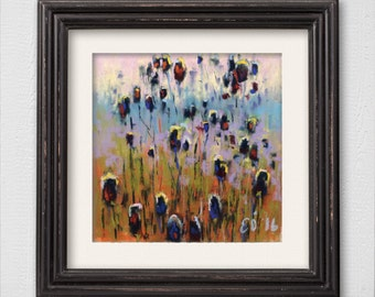 """Original Pastel Painting """"Teasel Heads"""" Abstract Flower Painting"""