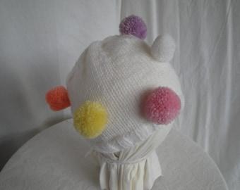 white toddler beanie, multi pompom cap, child's fun vegan hat, child pompom hat, cap age 2-8 or 3-10, kids funky beanie, fun knit vegan cap