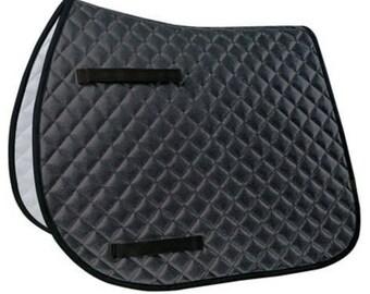 Lettia Black Sparkle All Purpose/Dressage Saddle Pad - Personalized/Monogrammed