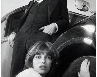 Serge Gainsbourg & Jane Birkin, 1969 - Retro Print with Black Card Frame (23CM X 17CM)