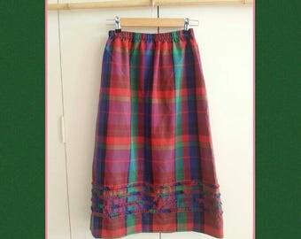 Vintage 80s Skirt - Tartan 60s Style Skirt - 3/4 length Skirt - Small