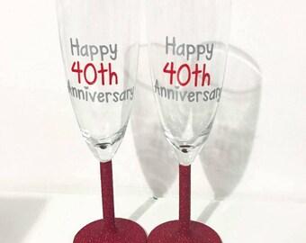 40th Ruby Wedding Anniversary Glitter Champagne Glass Set
