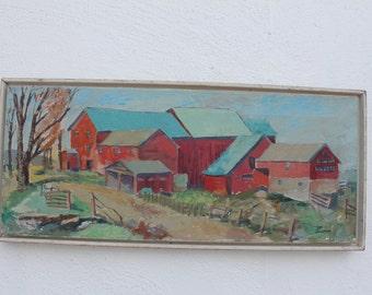 Vintage Landscape Rural Farm Scene Signed Painting.