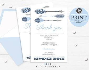 Blue Tribal THANK YOU CARD, Instant Download, Baby Shower Thank you, Arrow Thank you, Boy Thank you Cards, Edit yourself, Tribal Arrow