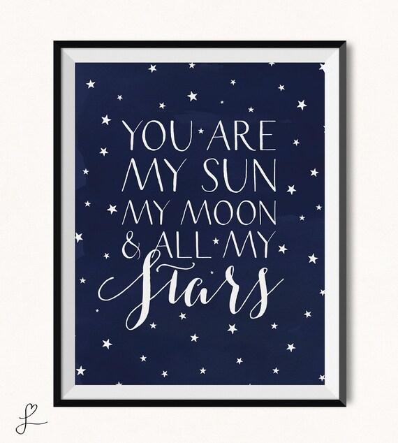 you are my sun my moon all my stars printable sun and moon nursery digital galaxy. Black Bedroom Furniture Sets. Home Design Ideas