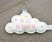 """Porte clés nuage """"La clé du bonheur"""" - coloris rose et jaune"""