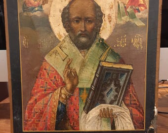 An Antique Russian XIX century Saint Nicholas Icon. Oil on Wood.