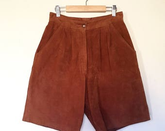 Cognac Brown Suede Vintage High Rise Shorts by S & U Fashions New York