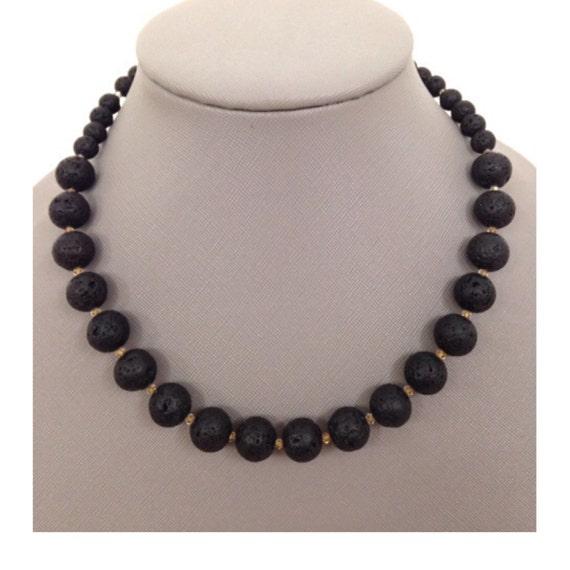 Essential Oils Lava Stone Diffuser Necklace, Santorini Collection, inspired by the Greek Islands, Santorini Black Lava Stone