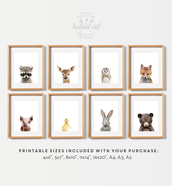 Nursery wall art, Baby animal prints, Woodland nursery theme, Woodland animals, PRINTABLE art, Baby animal nursery art, Nursery prints