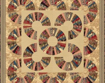 "Moda Quilt Kit -""Pumpkin Pie"" by Laundry Basket Quilts-Quilt size 60.5"" x 60.5"" includes pattern, fabric for top, templates and binding."