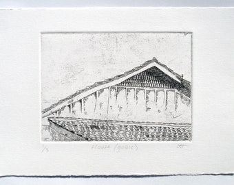 House (gable) - etching