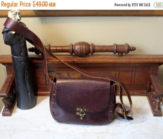 Football Days Sale Vintage Eddie Bauer Mahogany Brown Leather and Lace Crossbody Bag With Antique Brass Clasp- VGC
