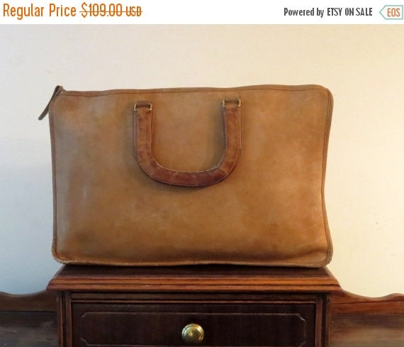 Football Days Sale Coach Handle Portfolio Briefcase Laptop Carrier In Burgundy Leather Made In The Factory In NYC-Beautifully Worn