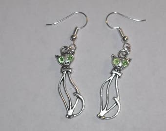 Green Eyed Kitty Cat Artisan Crafted Drop Dangle Earrings