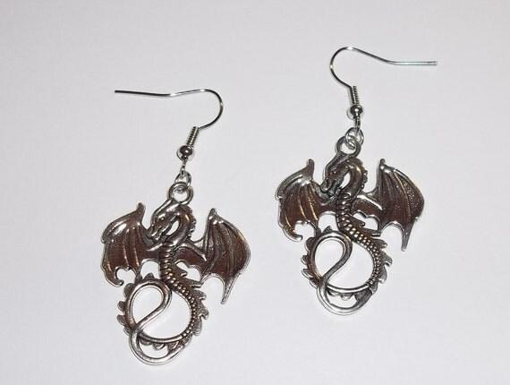 Dragon 3D Tibetan Silver Handmade Dangle Earrings