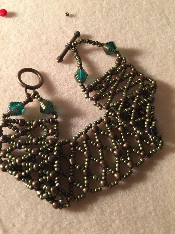 Beautiful Hand Beaded Bracelet Copper & Bronze