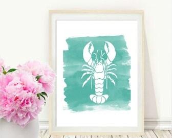 Lobster Art Print, Lobster Wall art, Watercolor Art, Beach House Decor, Printable Art,  Wall Decor, Nautical Print, Instant Download