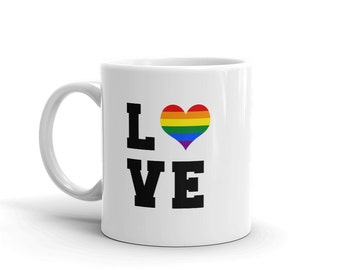 Valentine mug, LGBT valentine's mug, ceramic mug, coffee mug, tea mug, rainbow pride mug, LOVE valentine mug