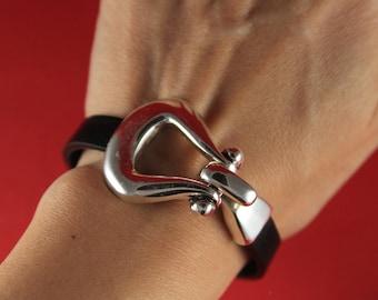 5A/4 MADE in EUROPE zamak hook clasp set, bracelet clasp, silver hook clasp, flat cord hook clasp (c95454) Qty1