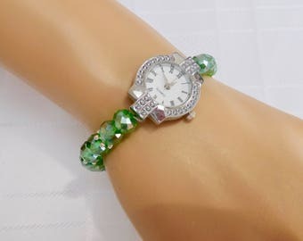 Green & Silver Beaded Stretch Bracelet Watch, Green Crystal Watch, Vegan Watch, Green Wrist Watch, Stretch Bracelet Watch, Gift For Her