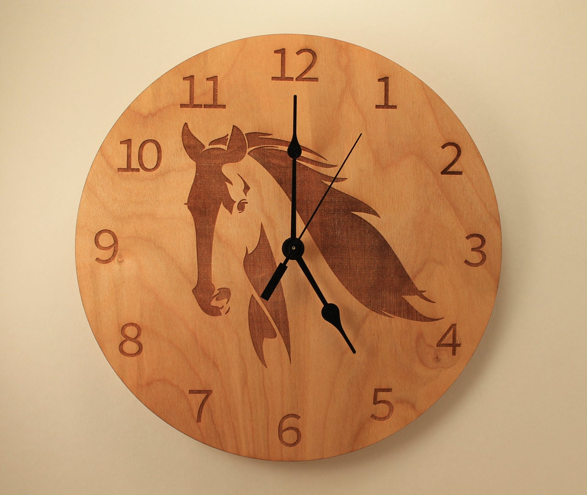 Horse laser cut clock animal clock wood clock wall clock request a custom order and have something made just for you amipublicfo Gallery